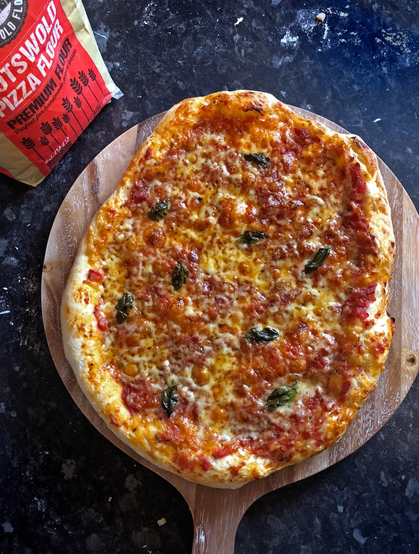 Cotswold flour cheese and tomato pizza