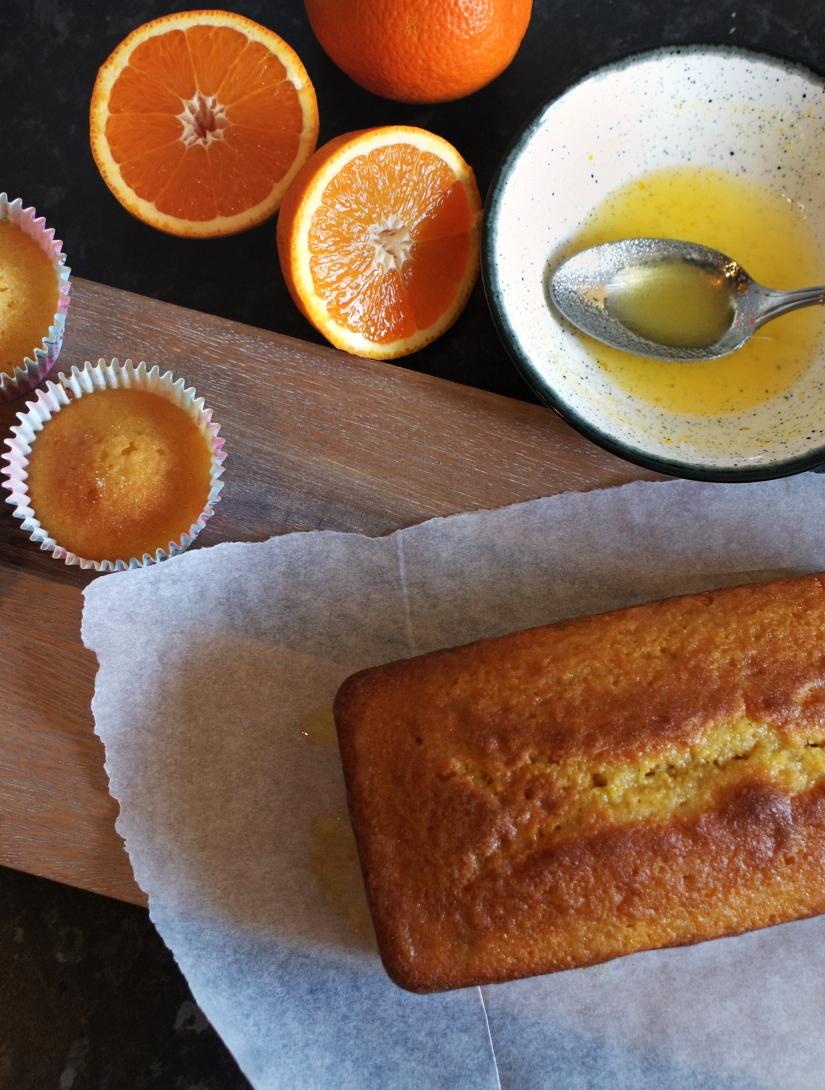 Orange drizzle cake with fresh oranges and orange juice