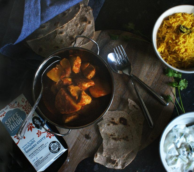Punjabi tomato curry with pilau rice and homemade rotis