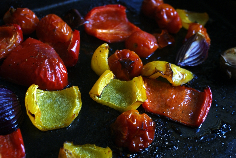 Roasted tomatoes, peppers and onions